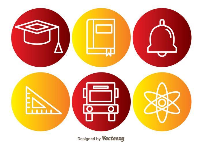 School Element Circle Icons