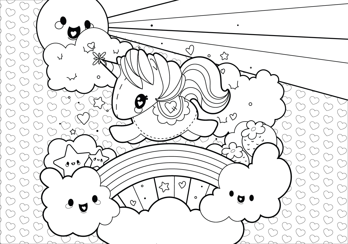 Rainbow Unicorn Scene Coloring Page - Download Free Vector ...