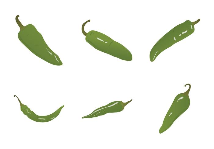 Gratis Grön Hot Pepper Vector Illustration