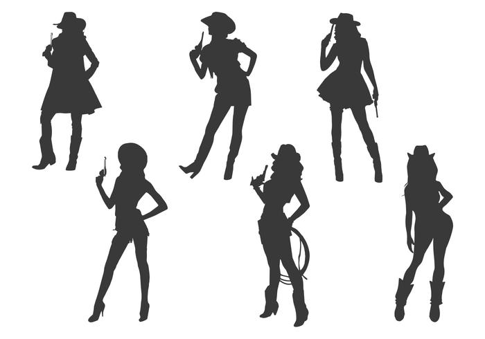 cowgirl silhouette vectors download free vector art