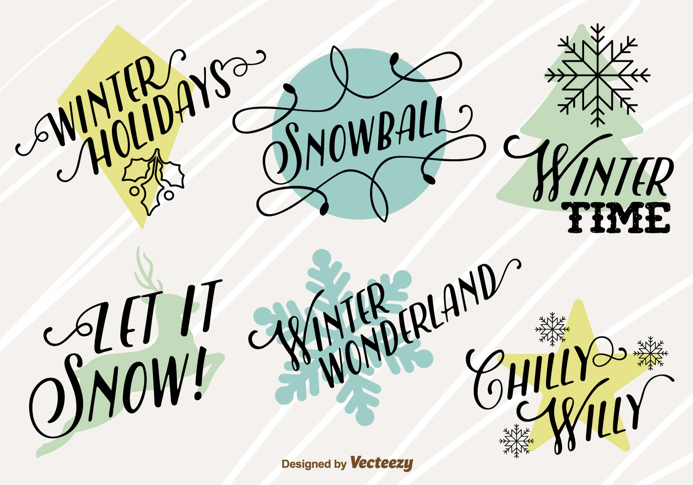 Merry christmas icons with happy winter texts - Download Free Vector ...