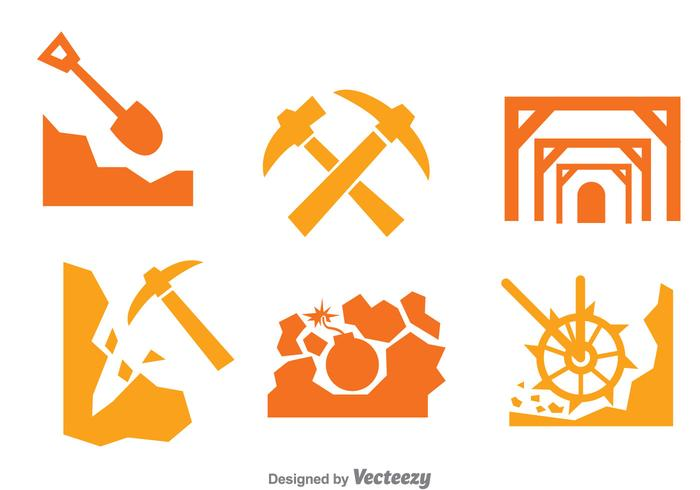 Mining Worker Icons Set