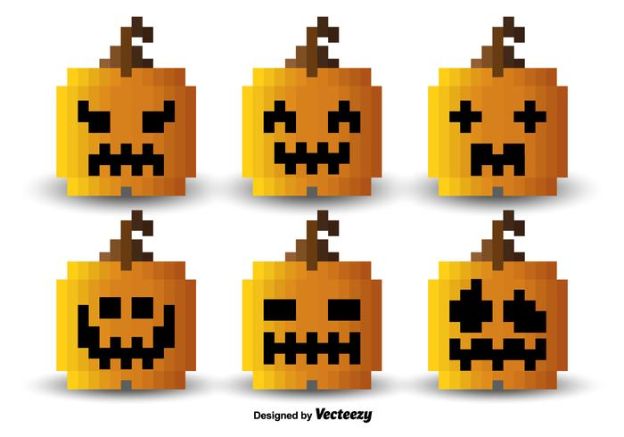 Pixel orange pumpkins