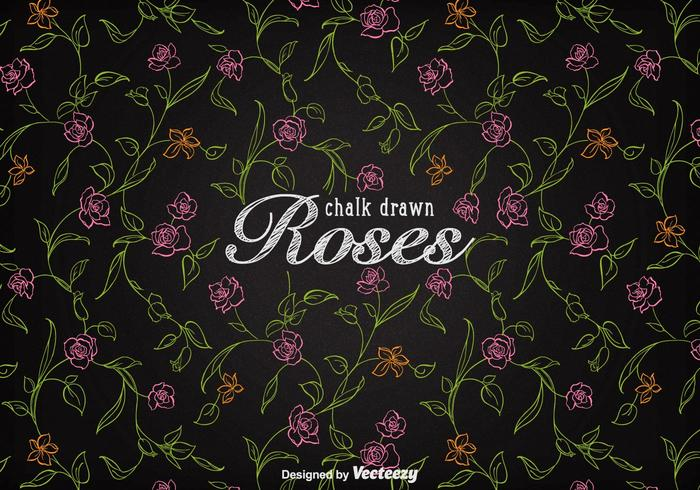 Free Chalk Drawn Roses Background Vector