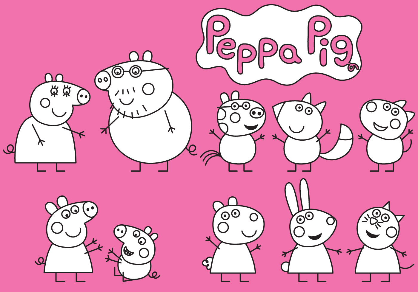 peppa pig coloring download free vector art stock