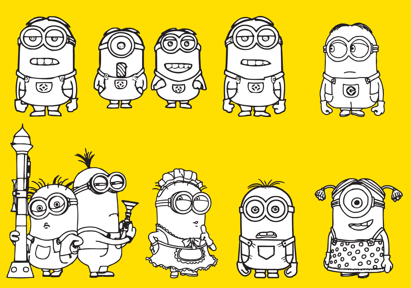 Minions Coloring Download Free Vector Art Stock Graphics Images