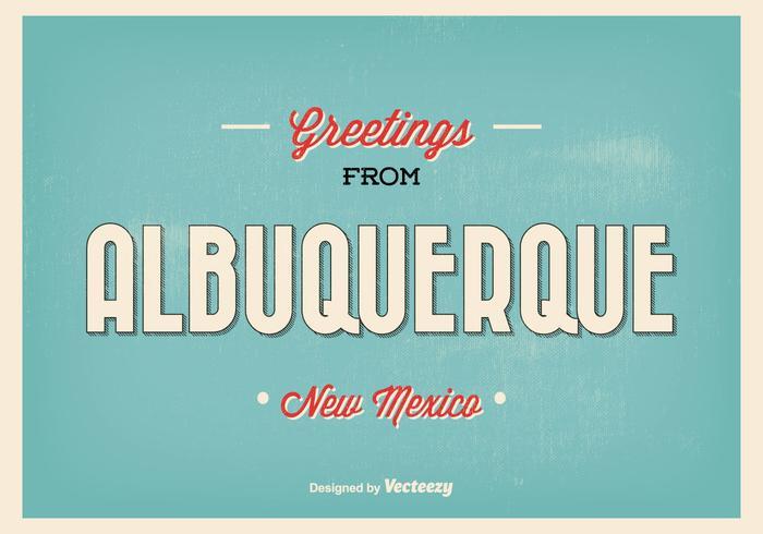Retro Style Albuquerque Greeting Illustration