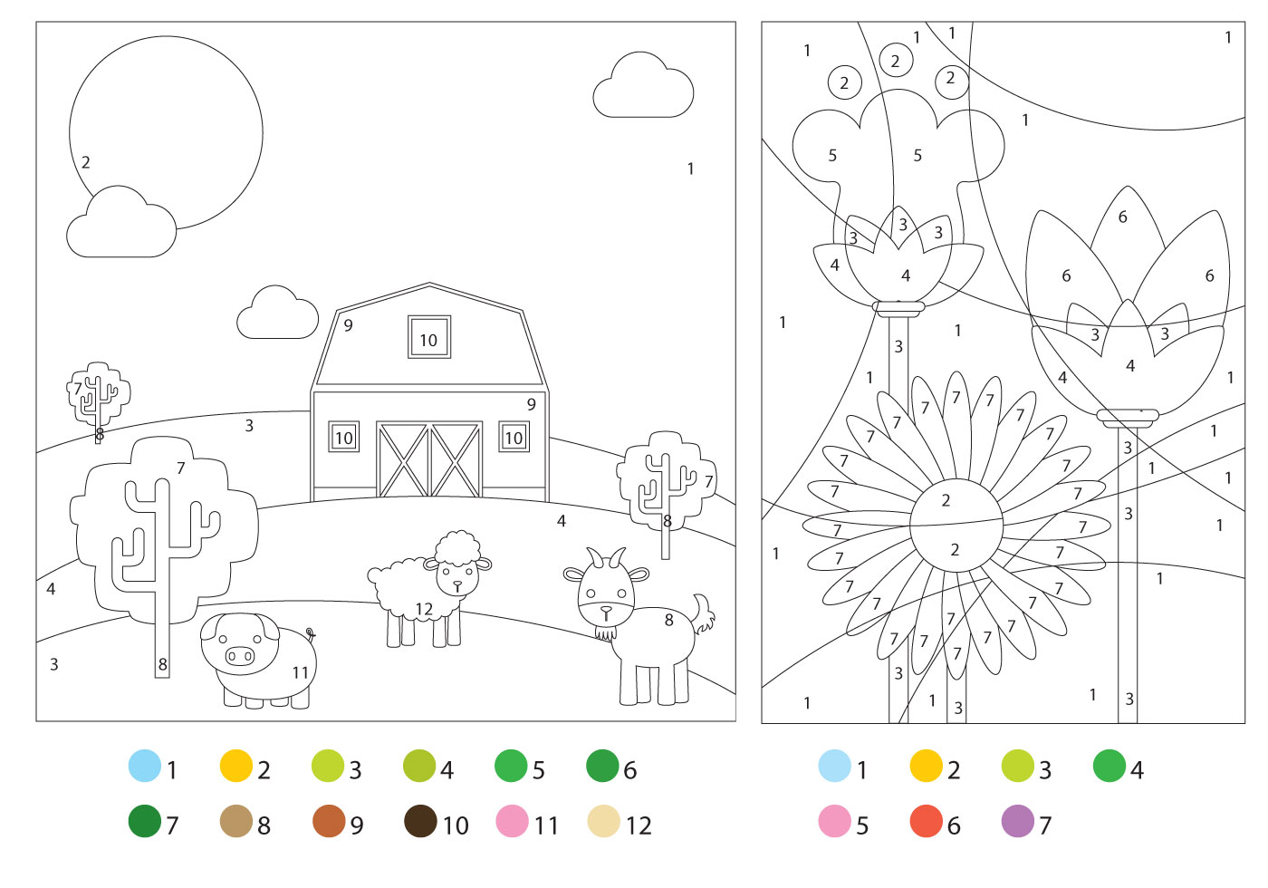Coloring Pages With Color Guides - Download Free Vector Art, Stock ...