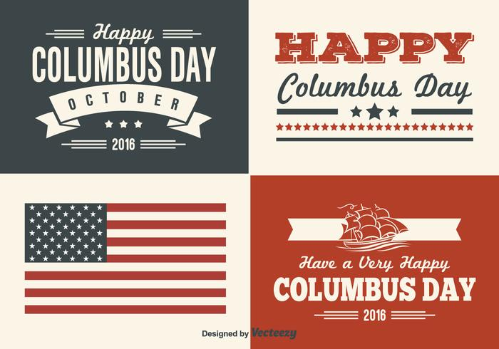 Columbus Day Retro Style Label Set