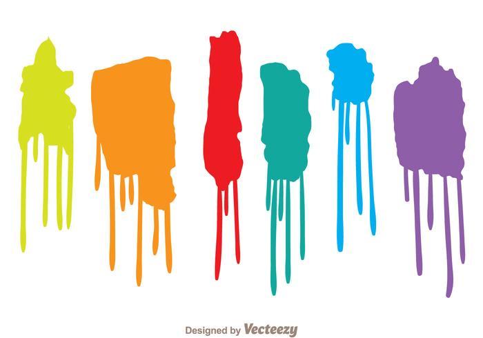 Colorful Paint Drip Set vector