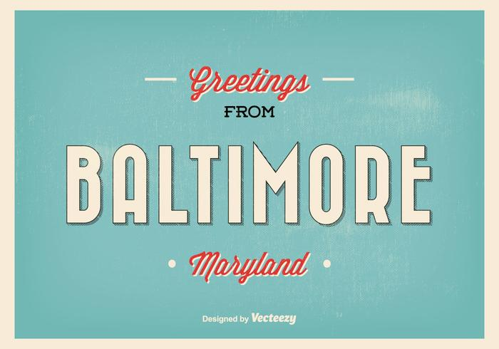 Retro Baltimore Maryland Greeting Illustratie
