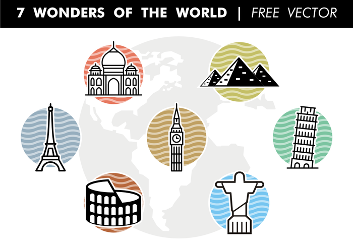 7 Wonders of the World Free Vector