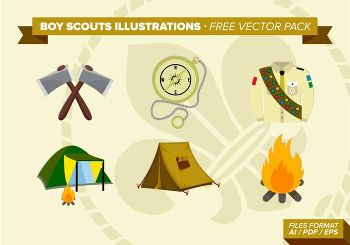 Boy Scouts Illustrations Free Vector Pack
