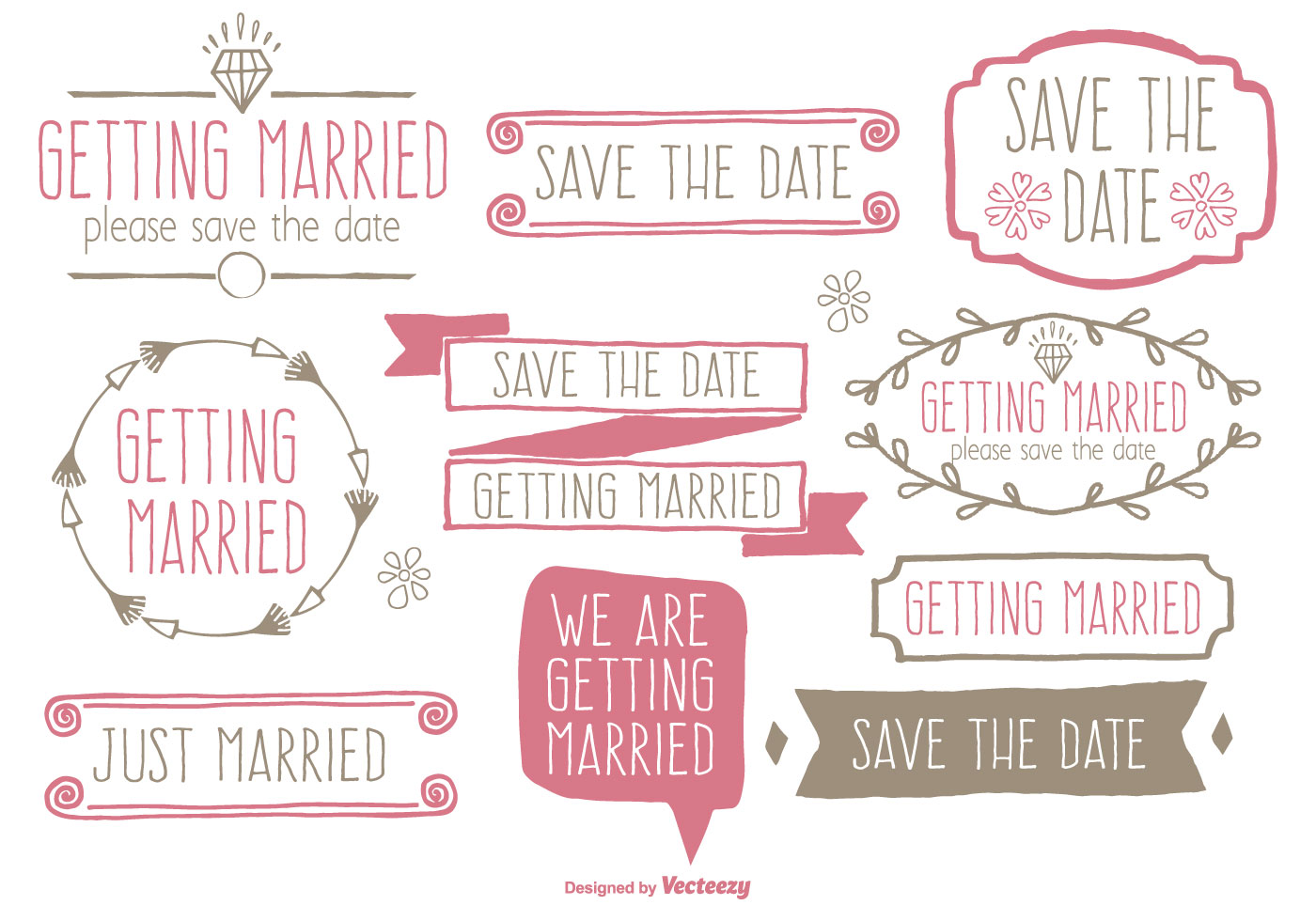 cute hand drawn style save the date and wedding label set download free vector art stock graphics images