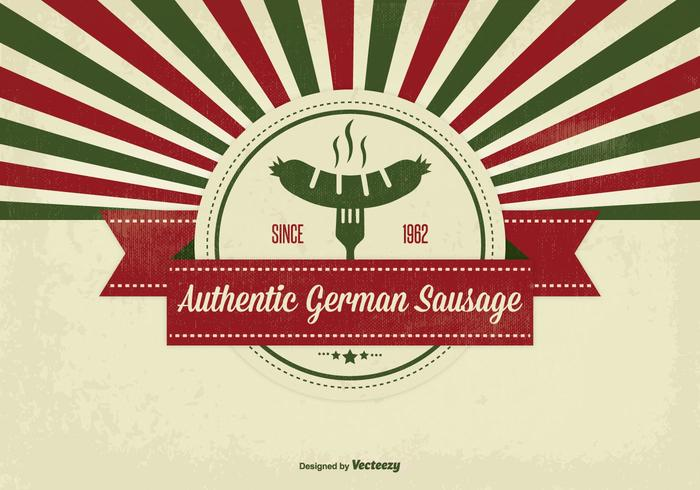 Retro Style German Sausage Illustration
