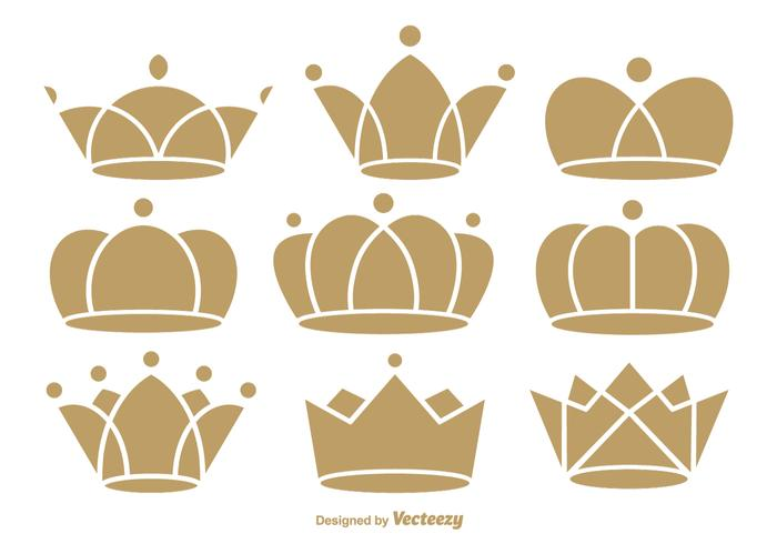 Flat crown icons