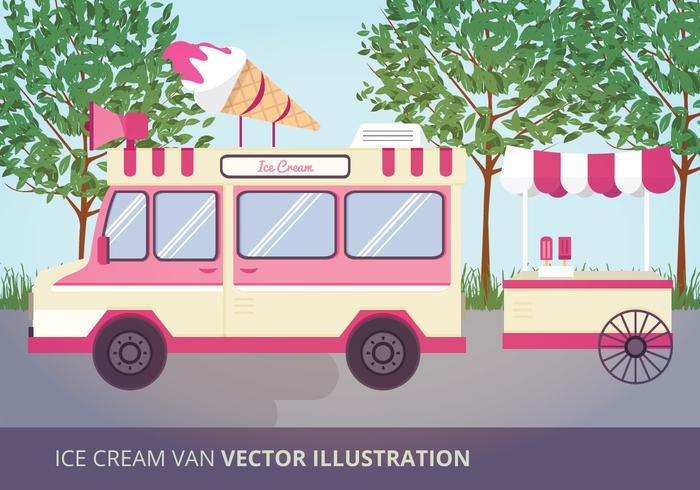 Ice Cream Van Vector Illustration
