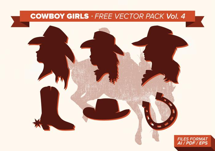 Cowboy Girls Silhouette Vector Pack Vol. 4