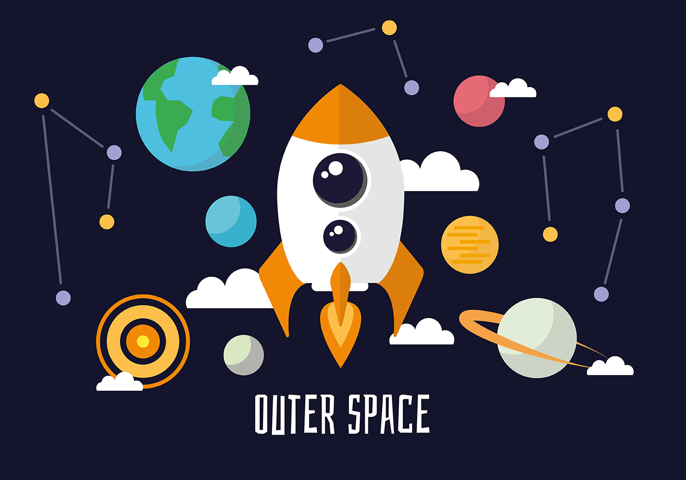 Free flat space landscape vector background download for Outer space wallpaper design