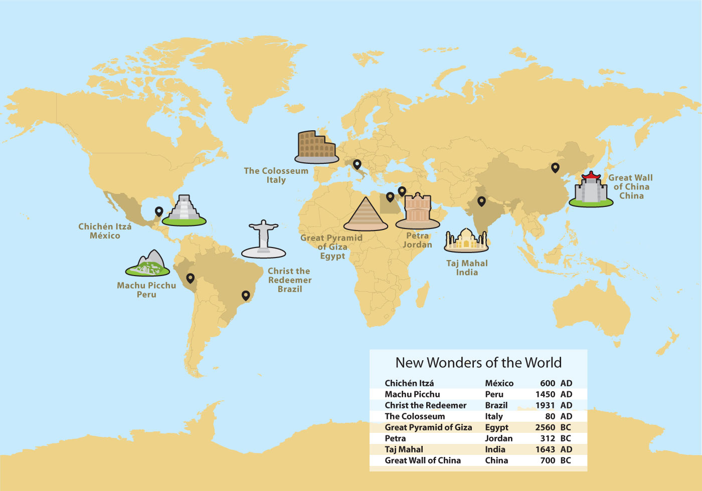 Wonders Of The World Map Vector Download Free Vector Art Stock Graphics a