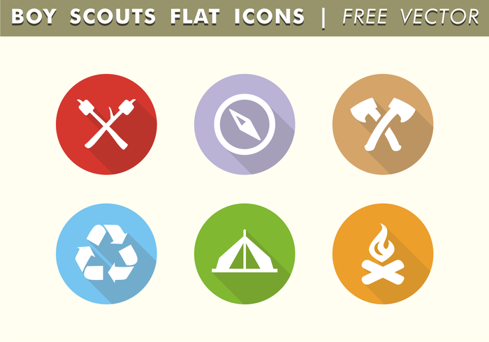 Boy Scouts Flat Icons Free Vector
