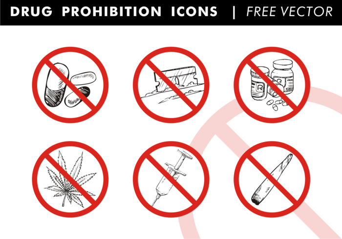 Drug Prohibition Icons Free Vector