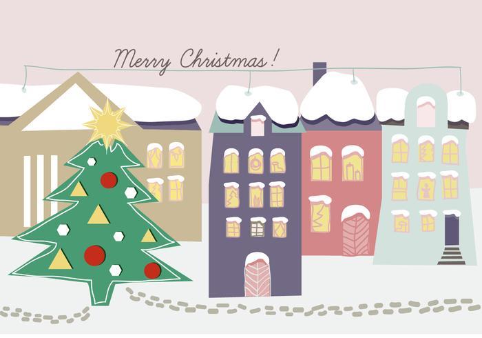 Gratis Handgetekende Kerst Achtergrond Illustratie