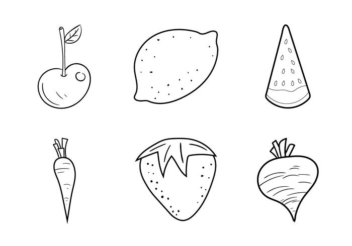 Free Fruit and Veggie Coloring Pages Vector Illustration