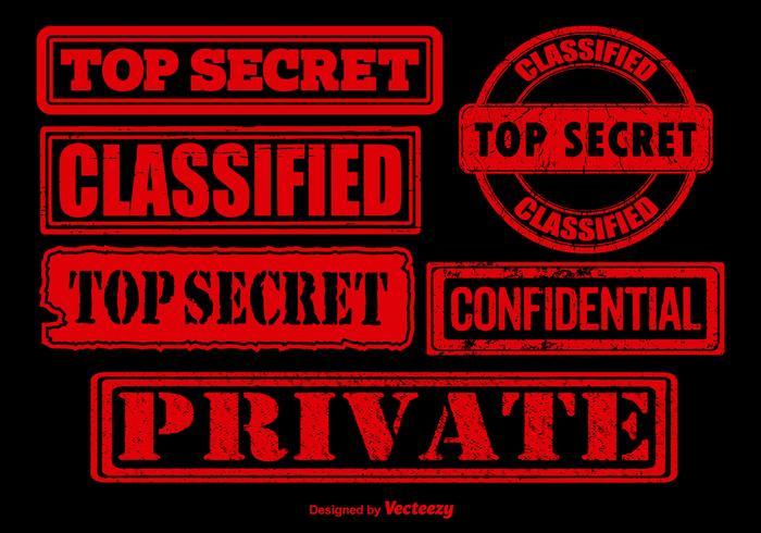 Red top secret stamp vectors