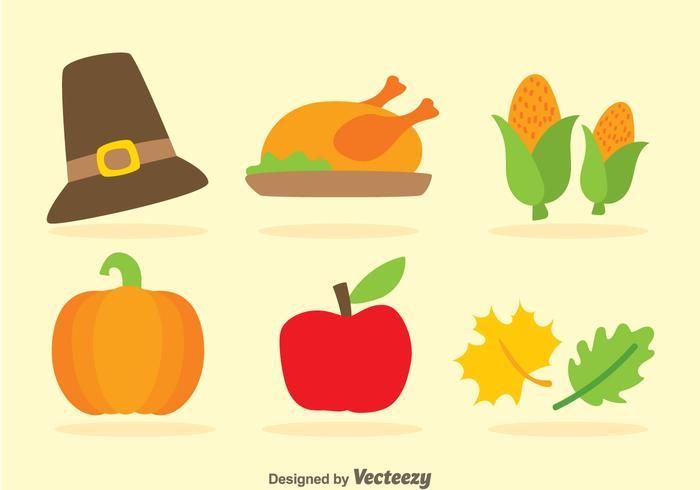 Iconos planos de Acción de Gracias
