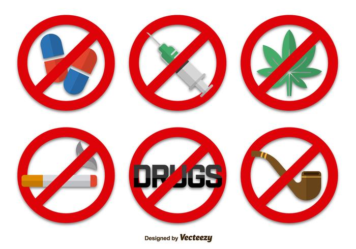 No drugs signs icons