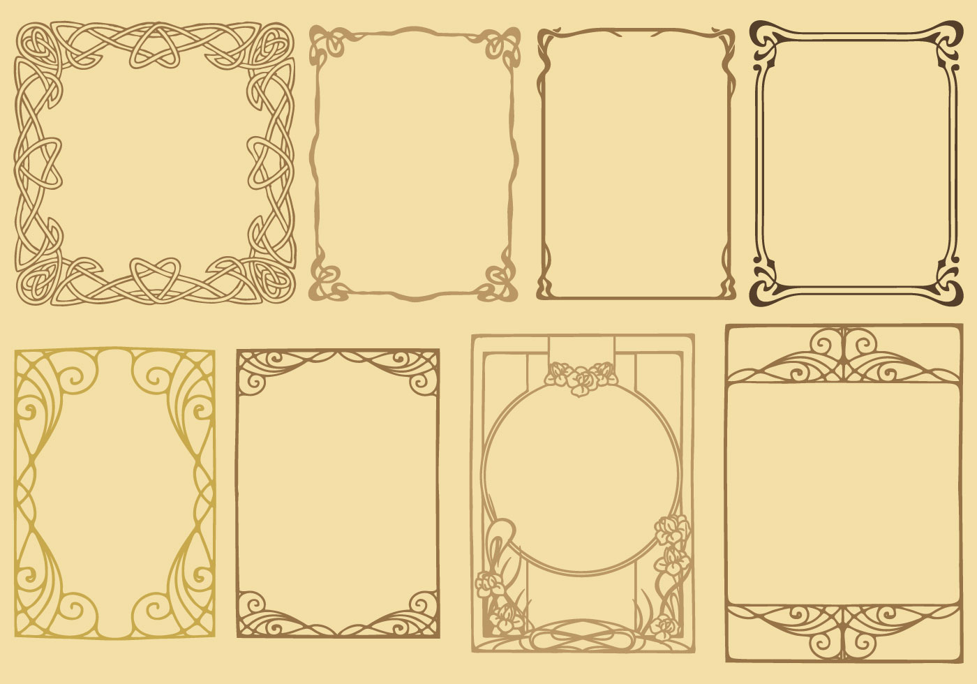 Art Nouveau Frame Vectors Retro Vintage Typographic Design Elements