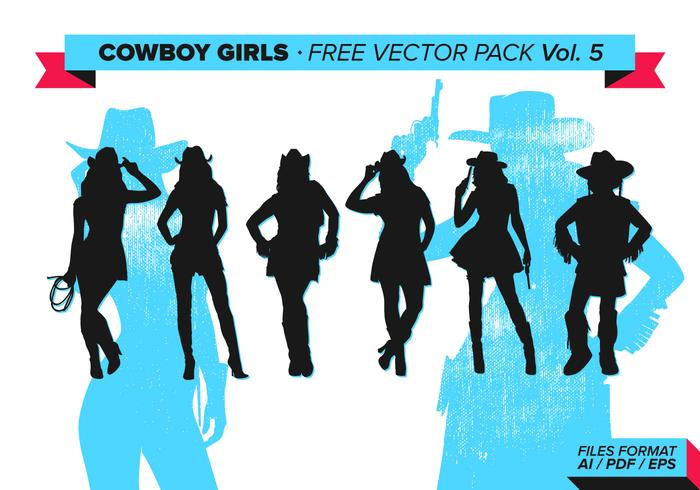 Cowboy Girls Silhouette Free Vector Pack Vol. 5