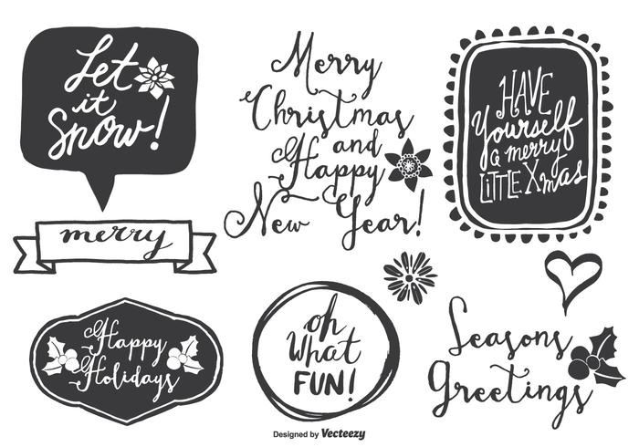 Cute Messy Hand Drawn Style Christmas Labels