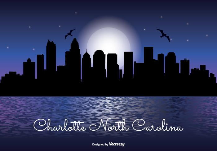 Charlotte North Carolina Skyline de la noche