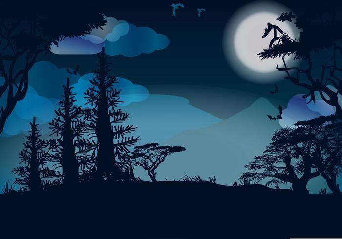 Luna notte vettoriale