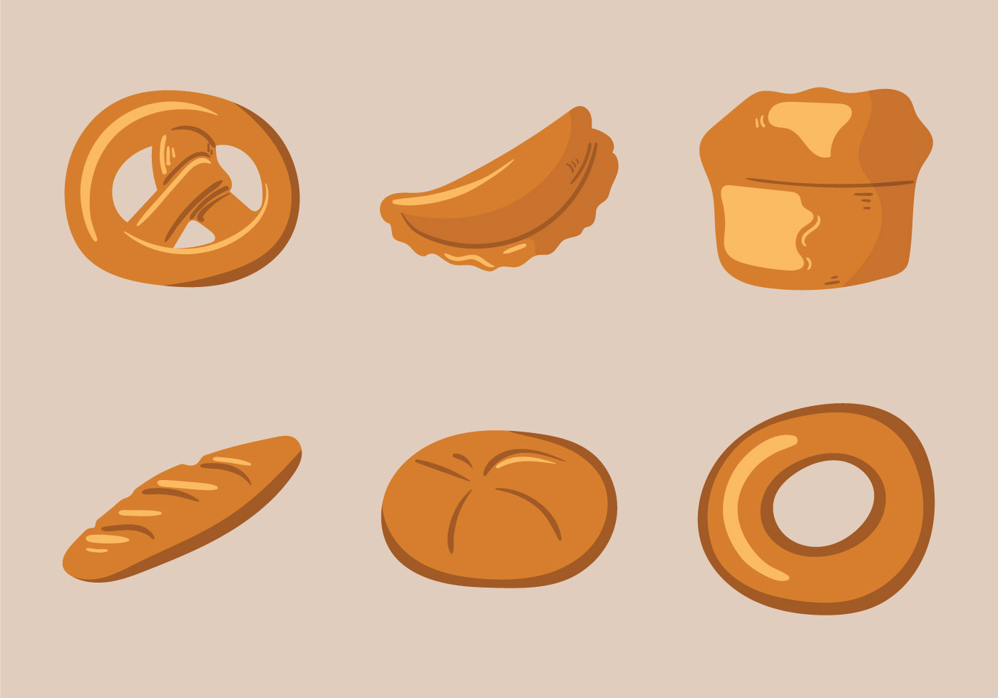 Free Bread Rolls Vector Illustration Download Free