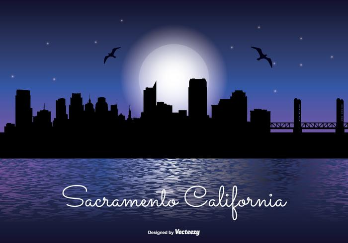 Sacramento Night Skyline Illustration
