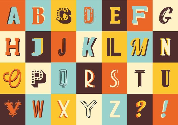 Variété de collection de typographie vintage rétro vintage