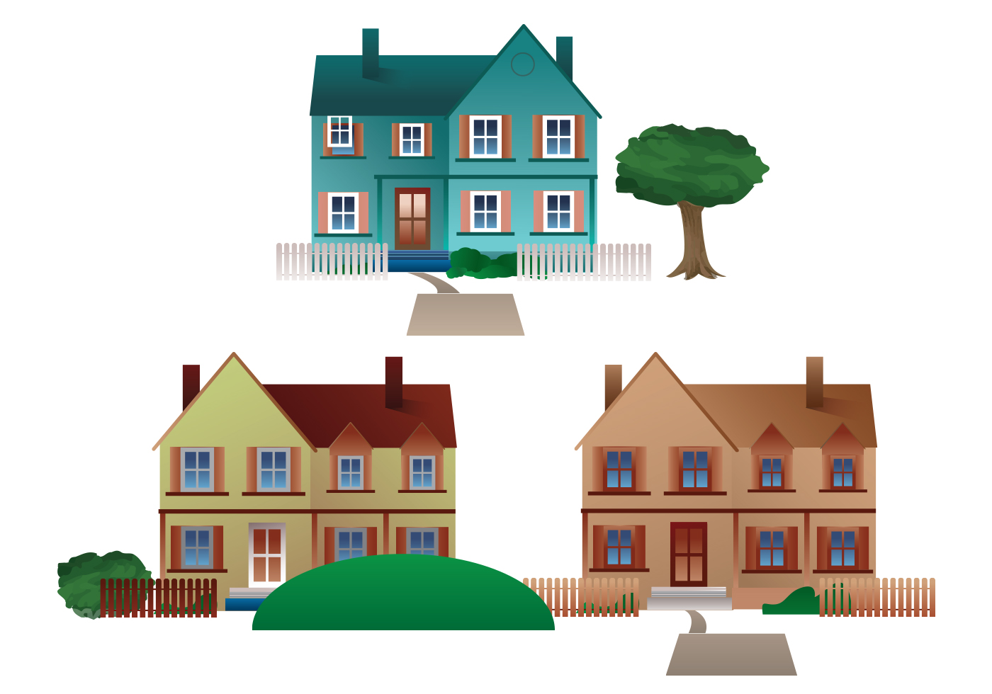 Line Art House Vector : Free residential town houses vector download