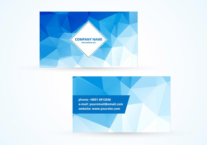 Blue polygonal vector business card