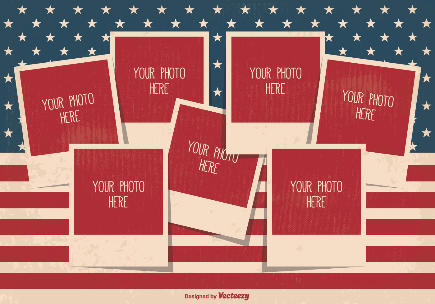 Retro Style Independence Day Photo Collage Template Download Free