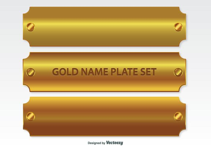 Golden Name Platten Set vektor