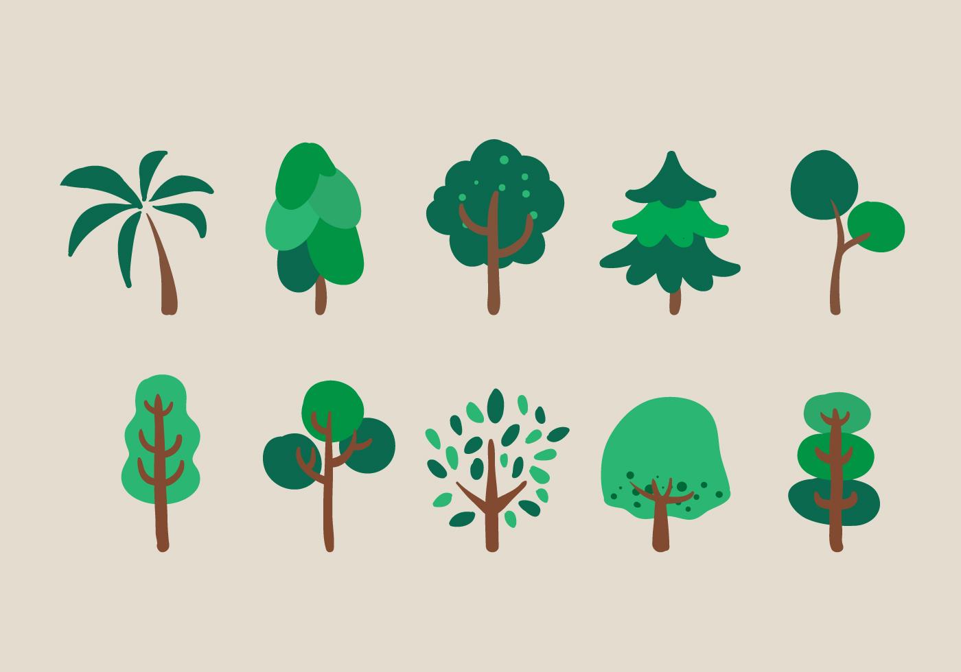Vector Trees Illustration Set Download Free Vector Art
