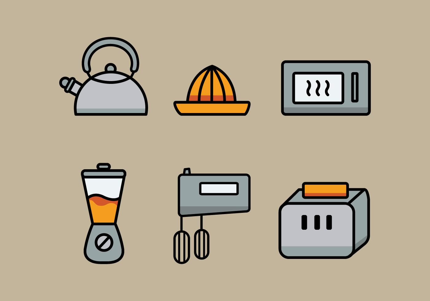 Vector kitchen utensils illustration set download free for Kitchen set vector