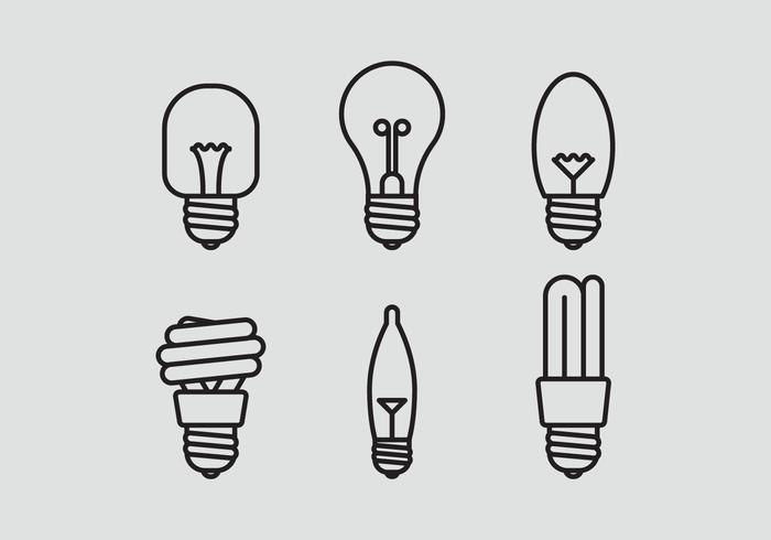 Set di icone vettoriali lampada