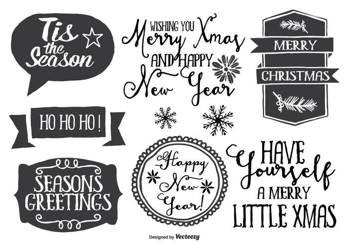 Cute Messy Hand Drawn Style Christmas Label Set