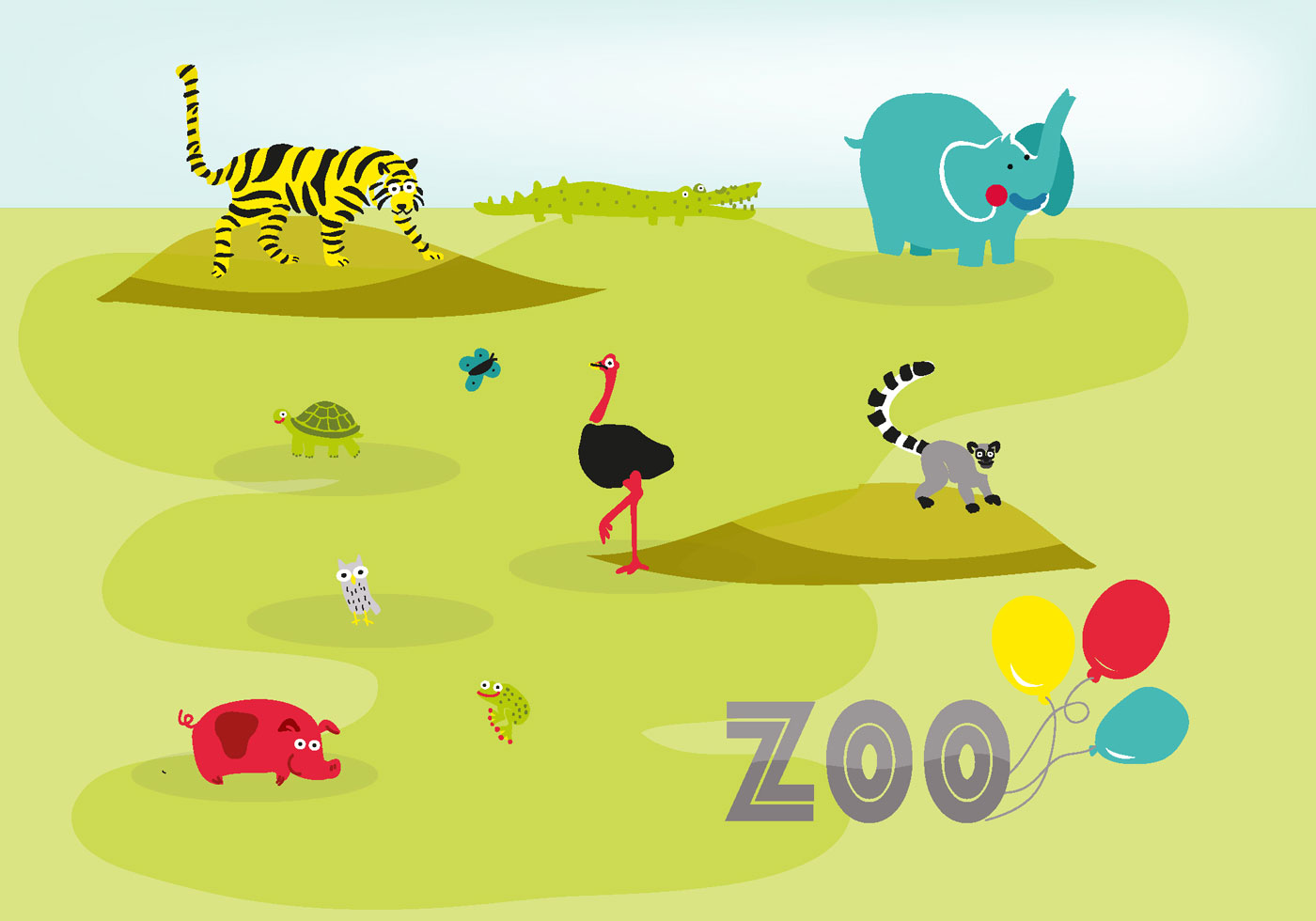 Cute Hand Drawn Zoo Animals Vector Background Download