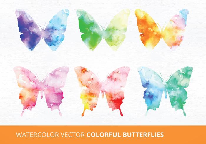 Watercolor Butterflies Vector Illustrations