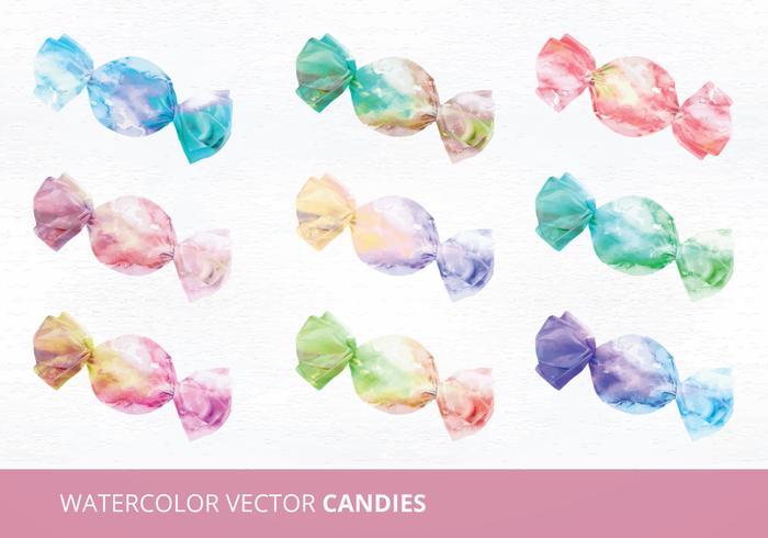 Watercolor Candies Vector Illustration